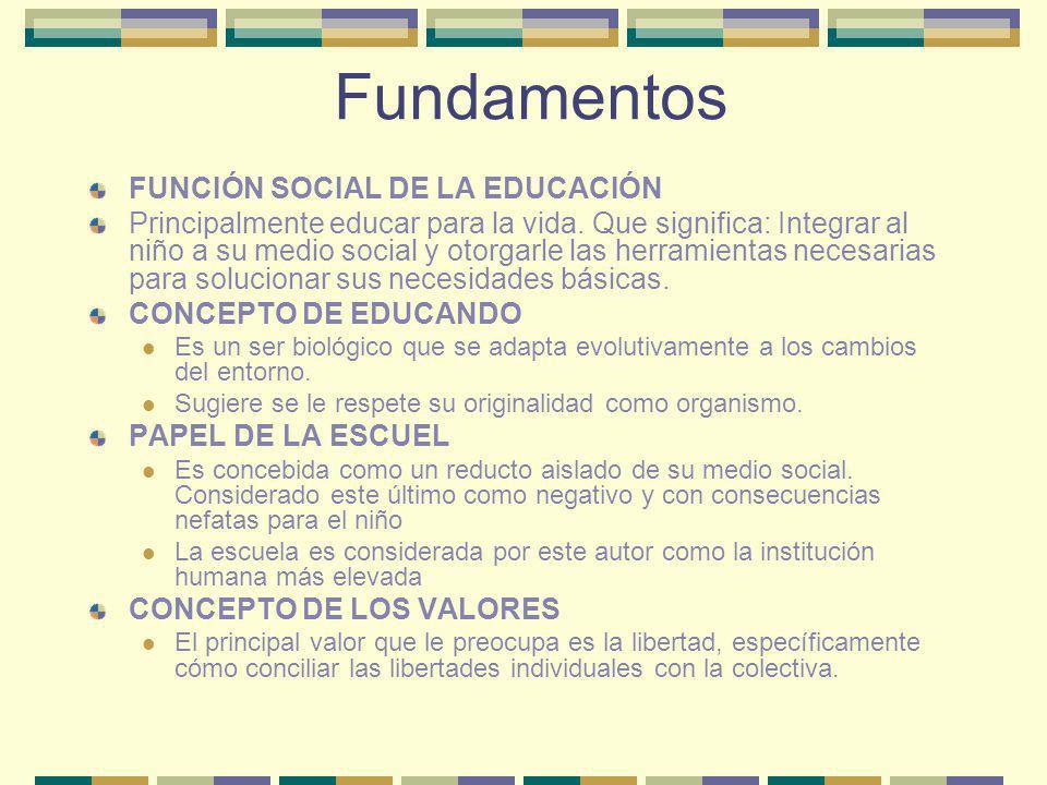Fundamentos FUNCIÓN SOCIAL DE LA EDUCACIÓN Principalmente educar para la vida. Que significa: Integrar al niño a su medio social y otorgarle las herra
