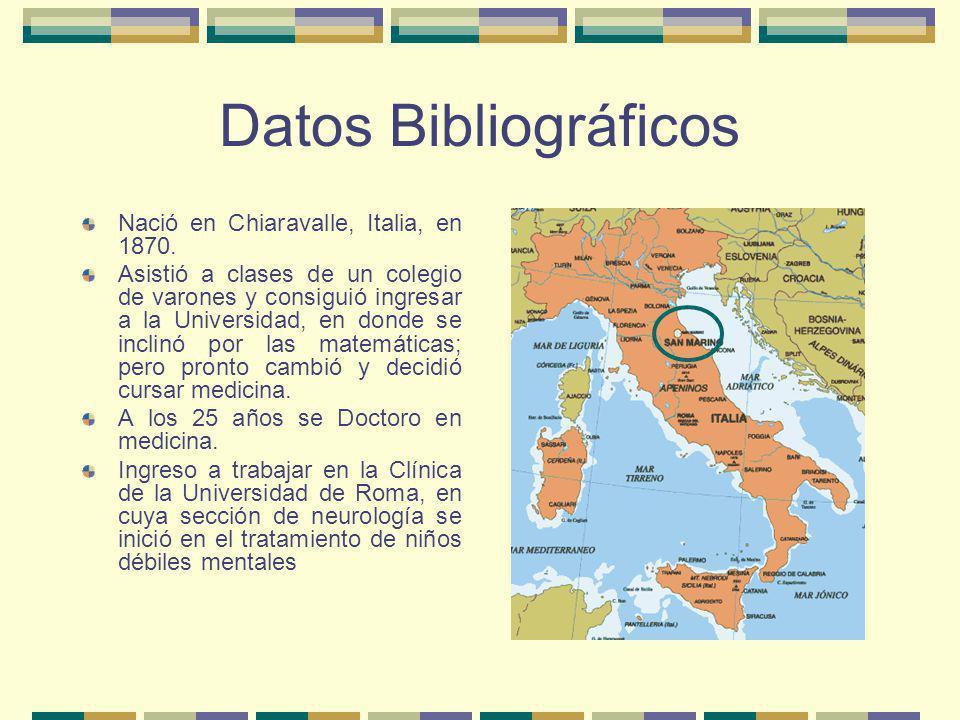 Datos Bibliográficos Nació en Chiaravalle, Italia, en 1870. Asistió a clases de un colegio de varones y consiguió ingresar a la Universidad, en donde
