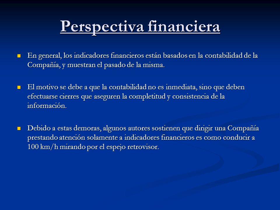 Perspectiva financiera En general, los indicadores financieros están basados en la contabilidad de la Compañía, y muestran el pasado de la misma. En g