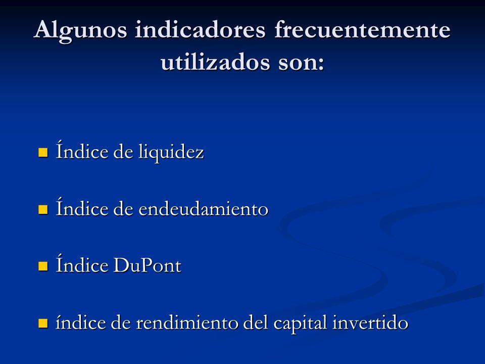Algunos indicadores frecuentemente utilizados son: Índice de liquidez Índice de liquidez Índice de endeudamiento Índice de endeudamiento Índice DuPont