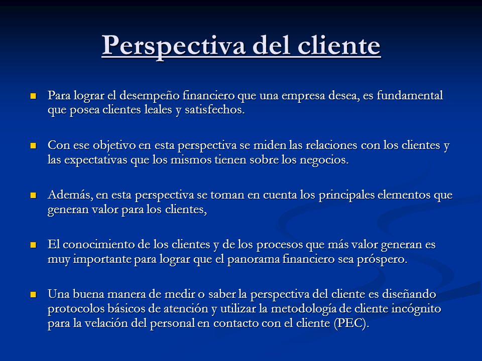 Perspectiva del cliente Para lograr el desempeño financiero que una empresa desea, es fundamental que posea clientes leales y satisfechos. Para lograr