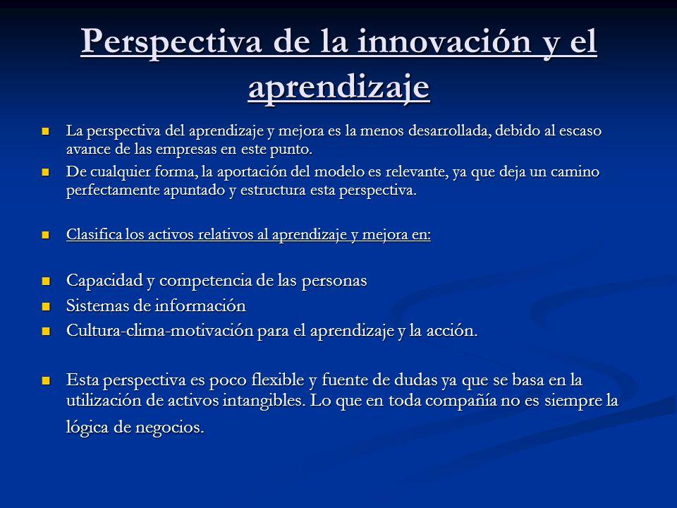Perspectiva de la innovación y el aprendizaje La perspectiva del aprendizaje y mejora es la menos desarrollada, debido al escaso avance de las empresa