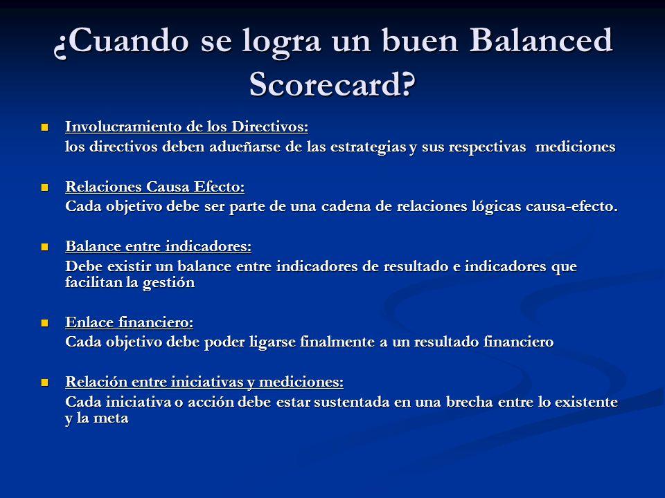 ¿Cuando se logra un buen Balanced Scorecard? Involucramiento de los Directivos: Involucramiento de los Directivos: los directivos deben adueñarse de l