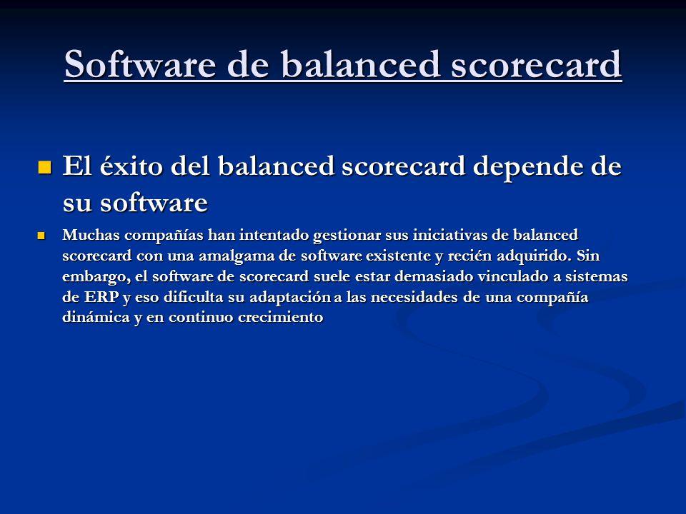 Software de balanced scorecard El éxito del balanced scorecard depende de su software El éxito del balanced scorecard depende de su software Muchas co