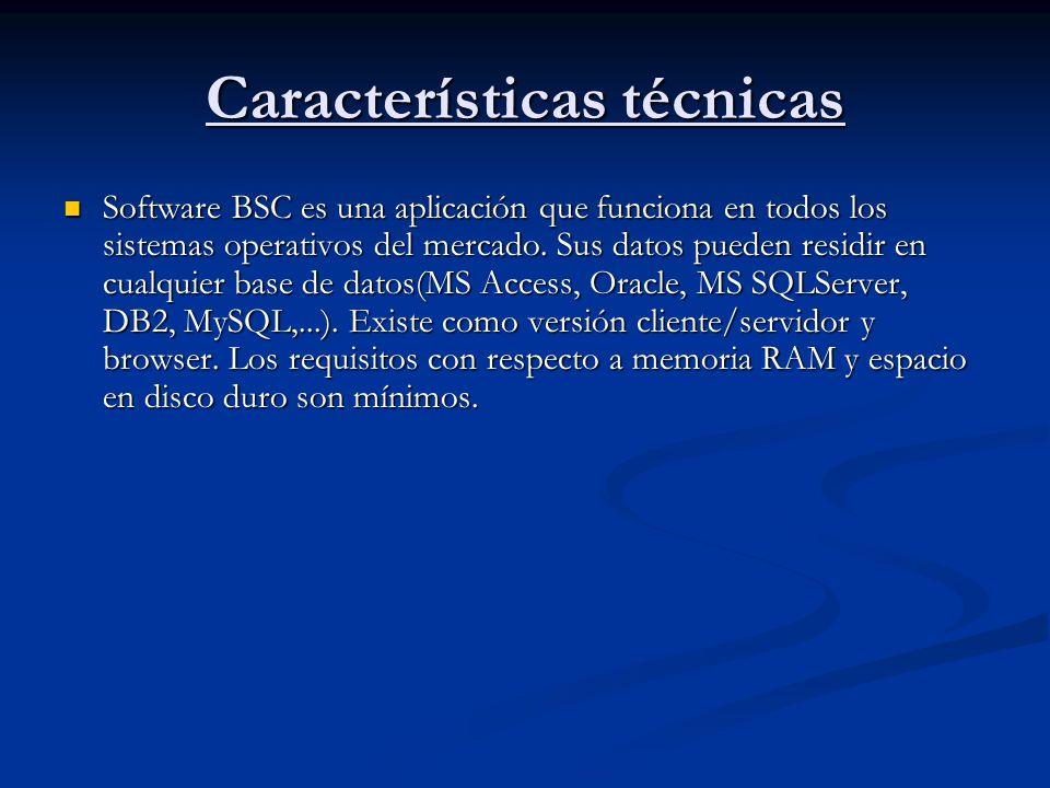 Características técnicas Software BSC es una aplicación que funciona en todos los sistemas operativos del mercado. Sus datos pueden residir en cualqui