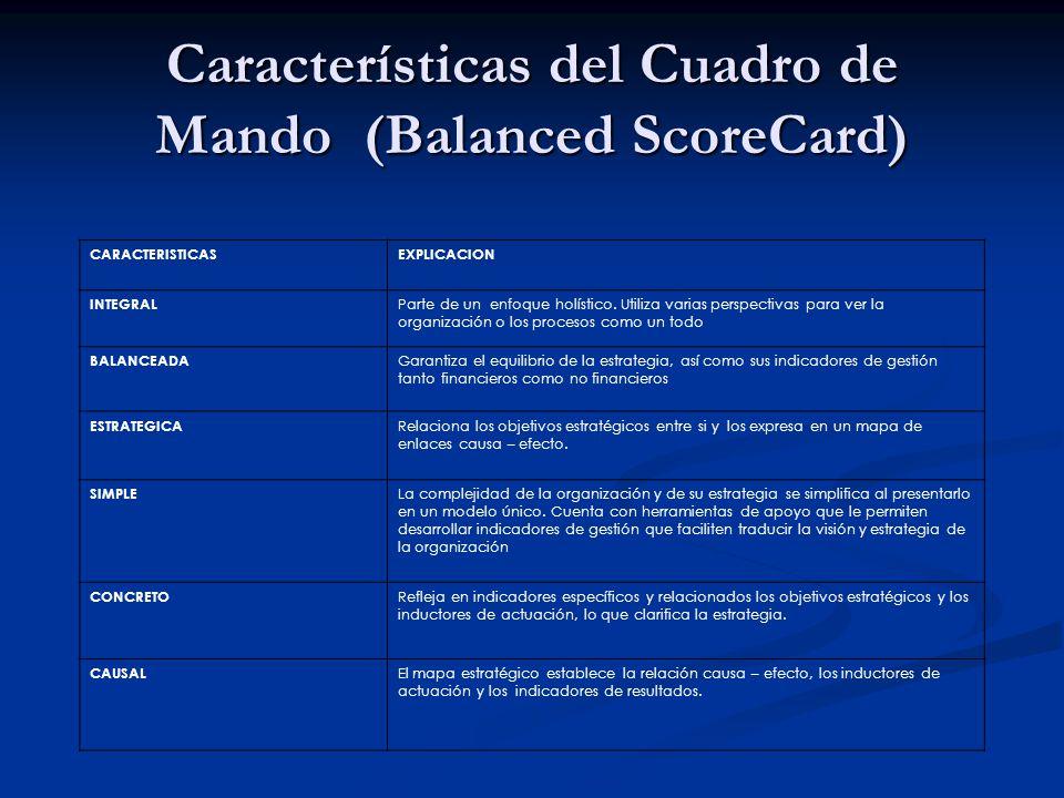 Características del Cuadro de Mando (Balanced ScoreCard) CARACTERISTICASEXPLICACION INTEGRAL Parte de un enfoque holístico. Utiliza varias perspectiva