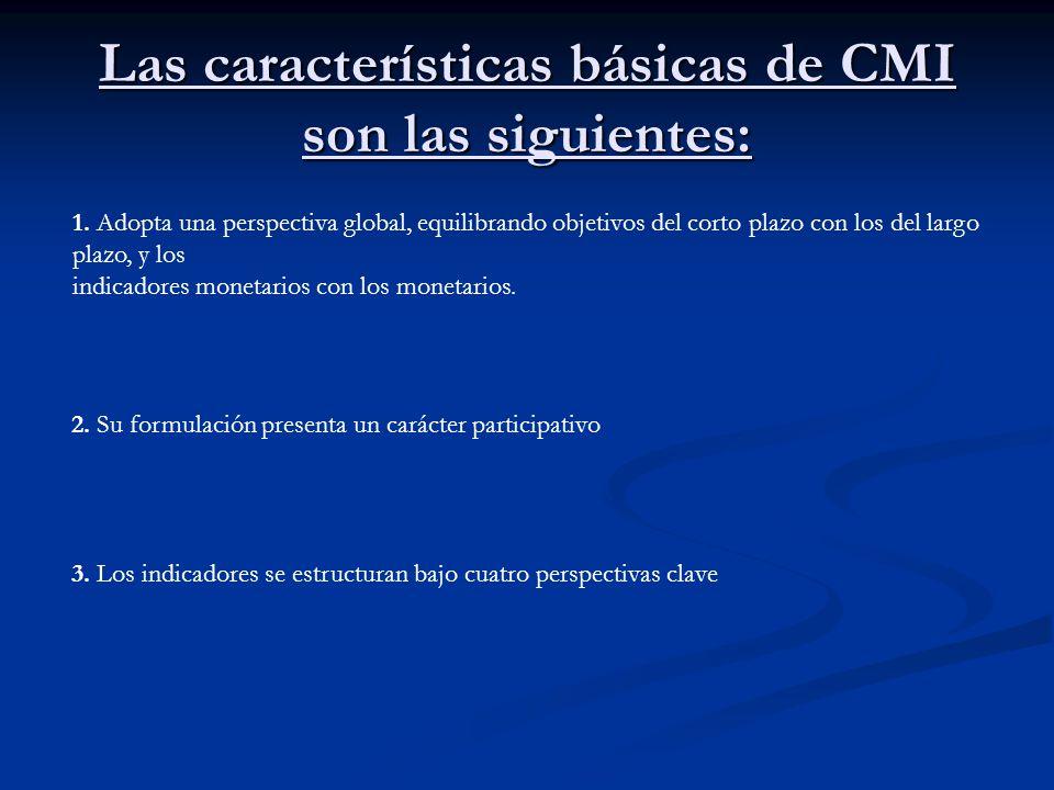 Las características básicas de CMI son las siguientes: 1. Adopta una perspectiva global, equilibrando objetivos del corto plazo con los del largo plaz