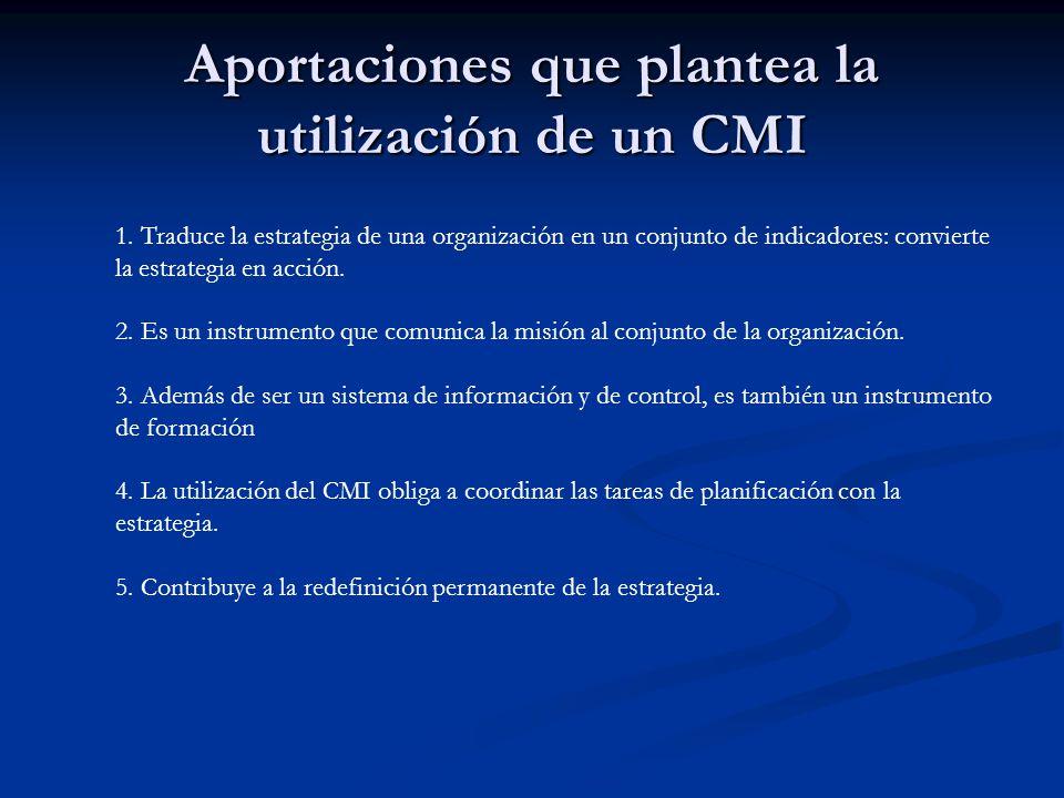 Aportaciones que plantea la utilización de un CMI 1. Traduce la estrategia de una organización en un conjunto de indicadores: convierte la estrategia