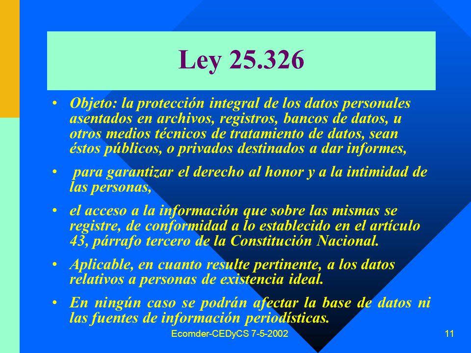 Ecomder-CEDyCS 7-5-2002 10 Constitución Nacional Art.