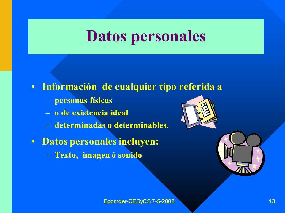 Ecomder-CEDyCS 7-5-2002 12 Decreto reglamentario Decreto 1558/2001 reglamenta algunos artículos Crea la Dirección Nacional de Protección de Datos Personales (Secretaría de Justicia del Ministerio Justicia y DDHH) – art.