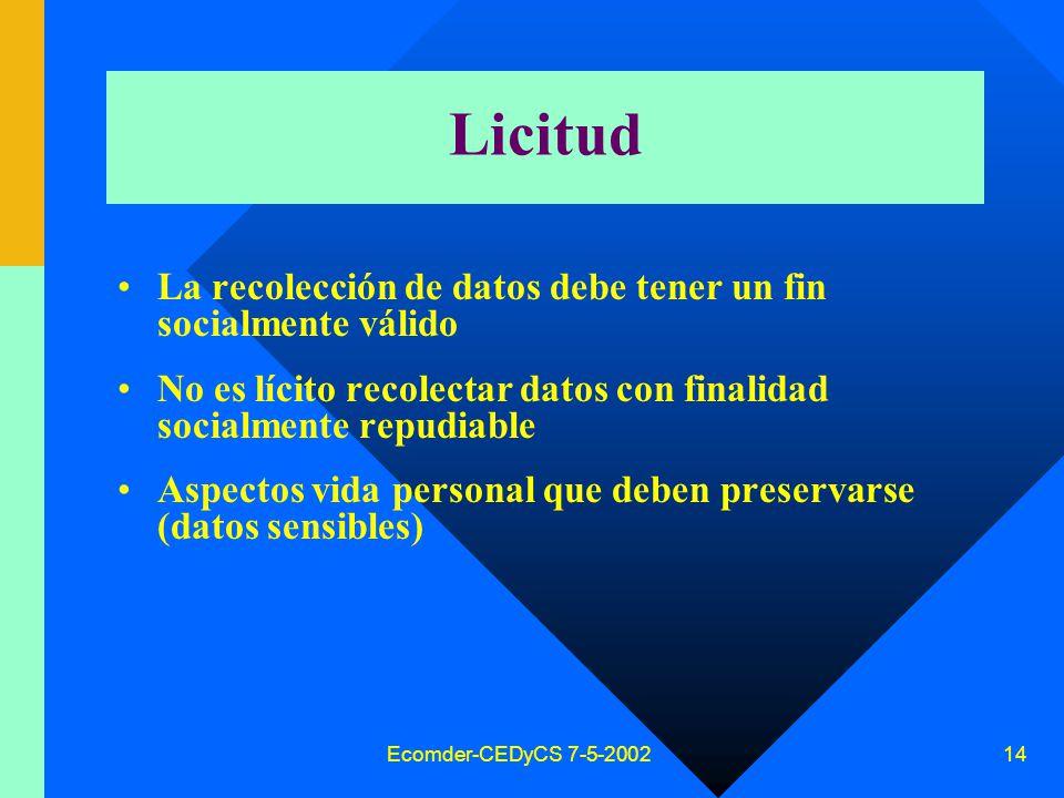 Ecomder-CEDyCS 7-5-2002 13 Datos personales Información de cualquier tipo referida a –personas físicas –o de existencia ideal –determinadas o determinables.
