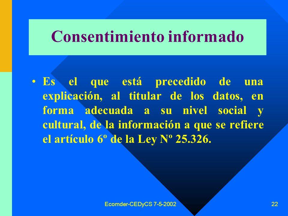 Ecomder-CEDyCS 7-5-2002 21 Requisitos consentimiento Para su validez es necesario (art.