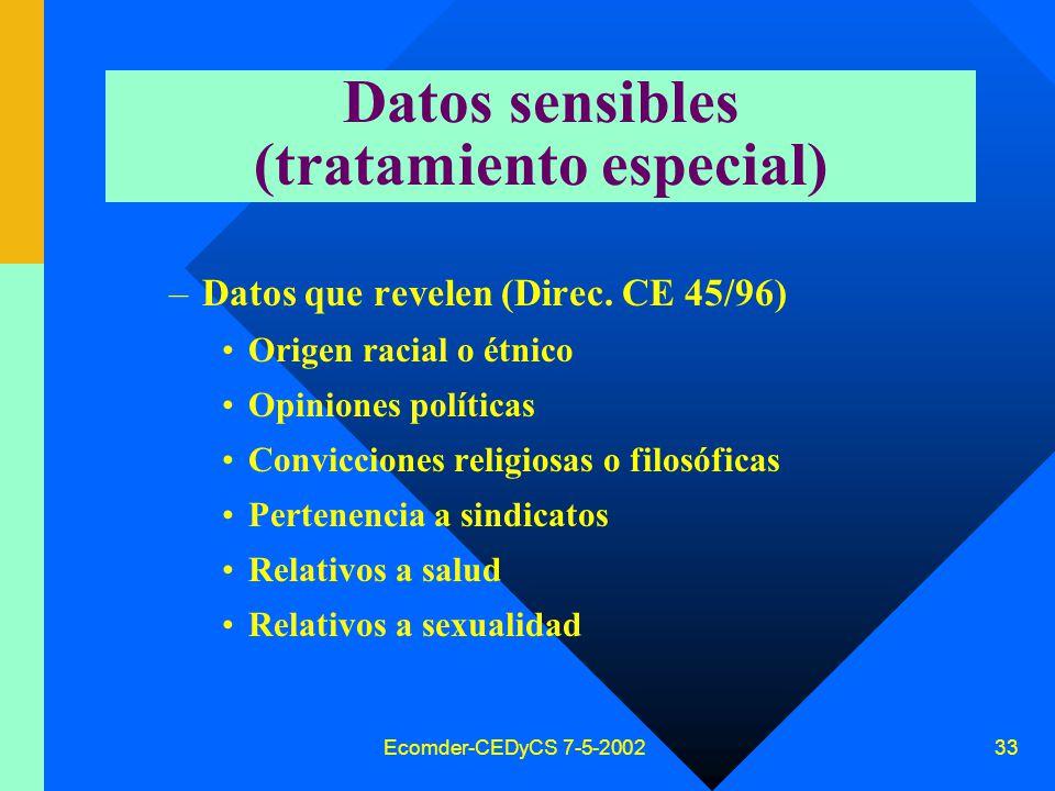 Ecomder-CEDyCS 7-5-2002 32 Conocimiento y consentimiento Sin información adecuada, no hay consentimiento válido