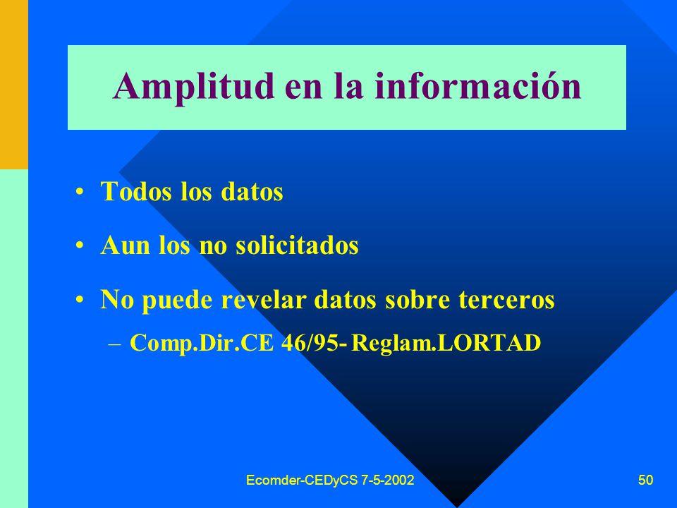 Ecomder-CEDyCS 7-5-2002 49 Claridad en la información Clara Sin codificaciones Explicada en lenguaje accesible nivel medio población Crítica: sordos, ciegos, otros idiomas .