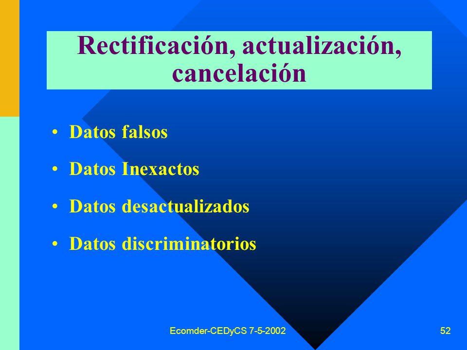 Ecomder-CEDyCS 7-5-2002 51 Forma (medios de proporcionar la información) Escrita Verbal Soporte electrónico Videos, etc
