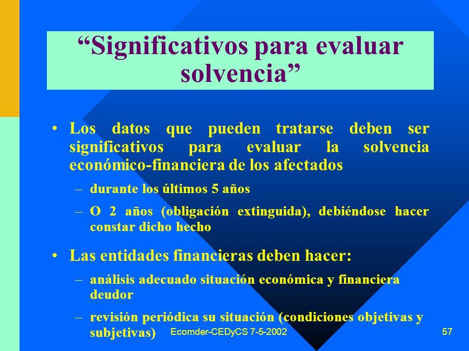 Ecomder-CEDyCS 7-5-2002 56 Informes comerciales y patrimoniales Dos tipos de datos personales de carácter patrimonial (art.26 comp.