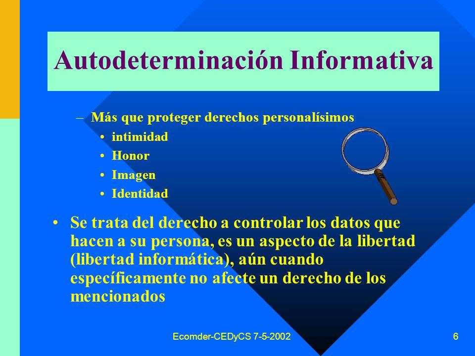 Ecomder-CEDyCS 7-5-2002 5 Antecedentes Derecho Argentino tutela privacidad Art.