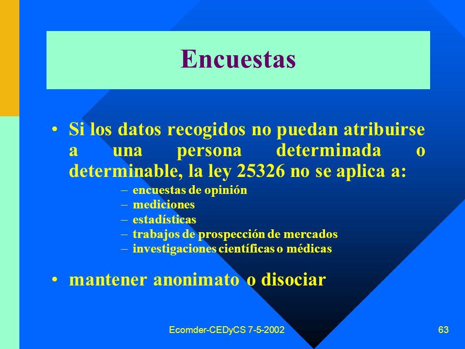 Ecomder-CEDyCS 7-5-2002 62 Fines permitidos –promocionales, –comerciales –publicitarios En estos casos el titular de los datos podrá: –ejercer el derecho de acceso sin cargo alguno.