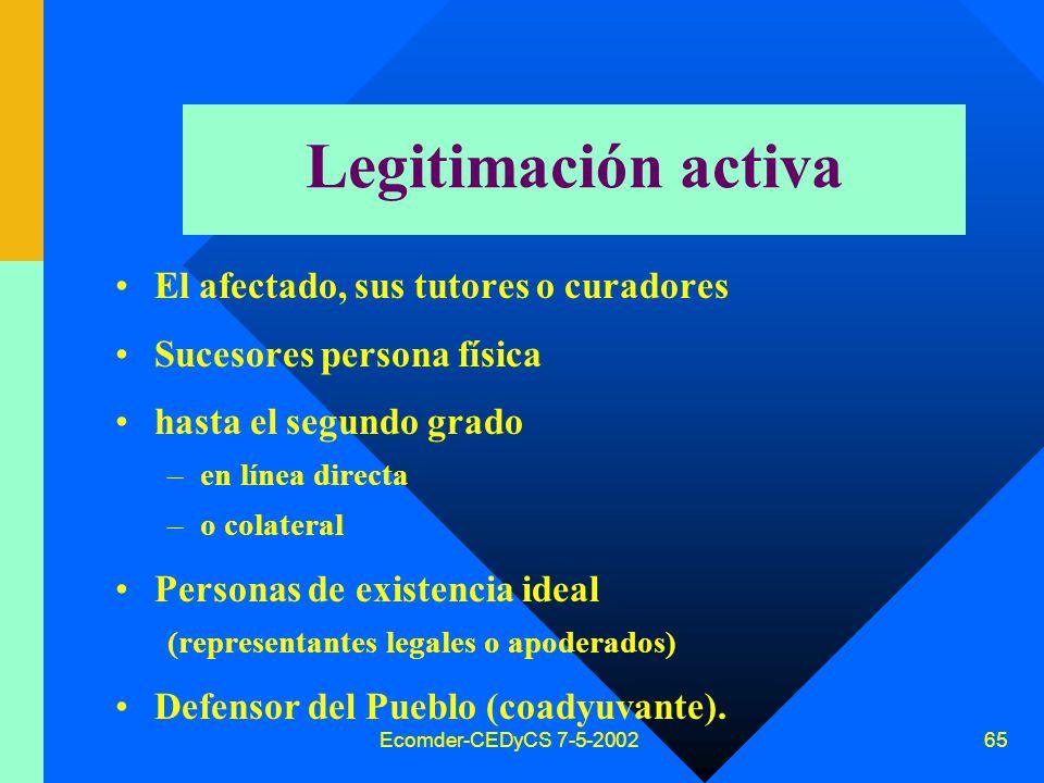 Ecomder-CEDyCS 7-5-2002 64 Acción de Hábeas Data Marco normativo –Constitución Nacional (art.