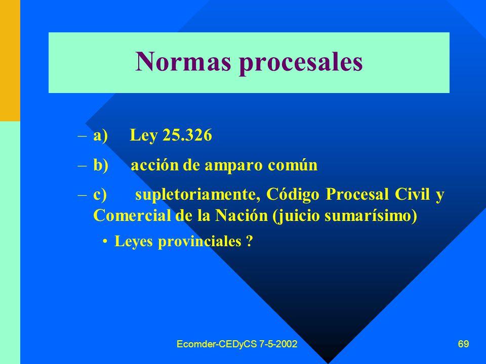 Ecomder-CEDyCS 7-5-2002 68 Competencia federal Competencia federal: –contra archivos datos públicos organismos nacionales –archivos de datos interconectados redes interjurisdiccionales (nacionales/ internacionales)