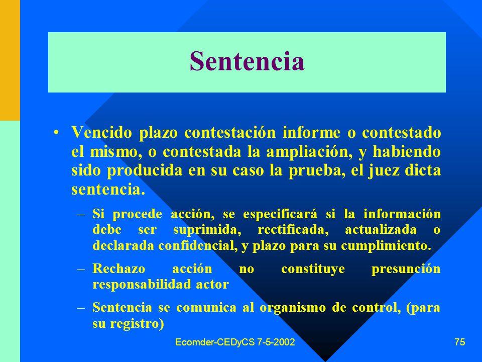 Ecomder-CEDyCS 7-5-2002 74 Ampliación demanda Contestado el informe, el actor Plazo 3 días, puede solicitar supresión, rectificación, confidencialidad o actualización de sus datos personales, (ofrece prueba).