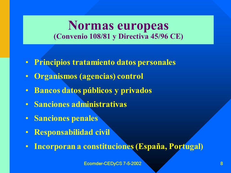 Ecomder-CEDyCS 7-5-2002 7 Antecedentes normativos ONU Consejo Ministros Europa Legislación europea Suecia (1970) Francia (1978) Dinamarca, Bélgica, etc España (leyes 5/92 y 15/99) Estados Unidos