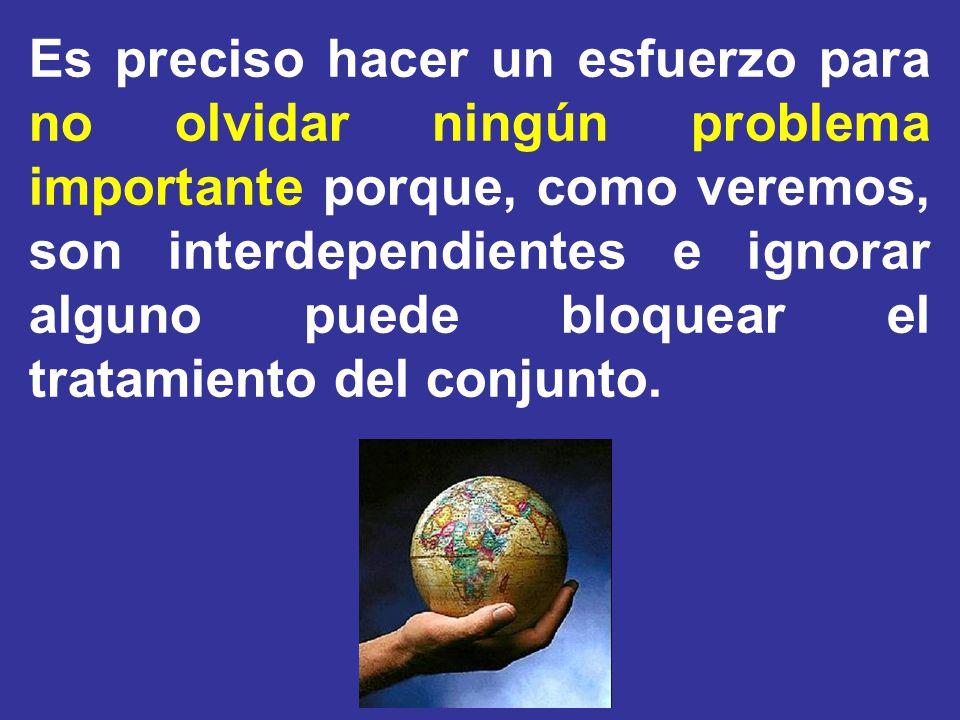 Es preciso hacer un esfuerzo para no olvidar ningún problema importante porque, como veremos, son interdependientes e ignorar alguno puede bloquear el