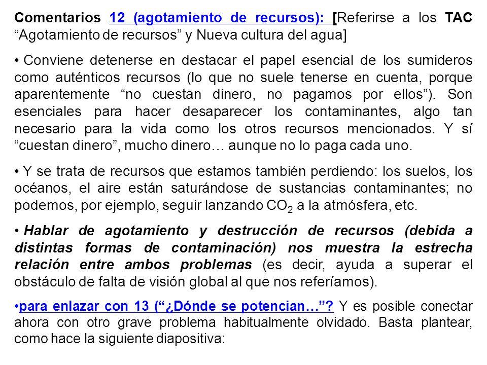 Comentarios 12 (agotamiento de recursos): [Referirse a los TACAgotamiento de recursos y Nueva cultura del agua] Conviene detenerse en destacar el pape