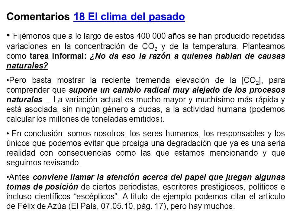 Comentarios 18 El clima del pasado Fijémonos que a lo largo de estos 400 000 años se han producido repetidas variaciones en la concentración de CO 2 y de la temperatura.