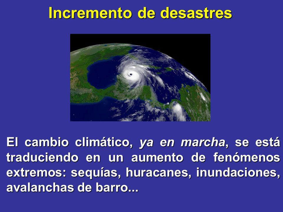 Incremento de desastres El cambio climático, ya en marcha, se está traduciendo en un aumento de fenómenos extremos: sequías, huracanes, inundaciones,