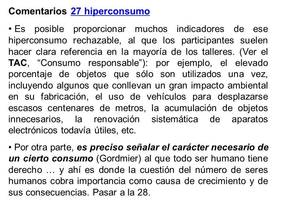 Comentarios 27 hiperconsumo Es posible proporcionar muchos indicadores de ese hiperconsumo rechazable, al que los participantes suelen hacer clara referencia en la mayoría de los talleres.