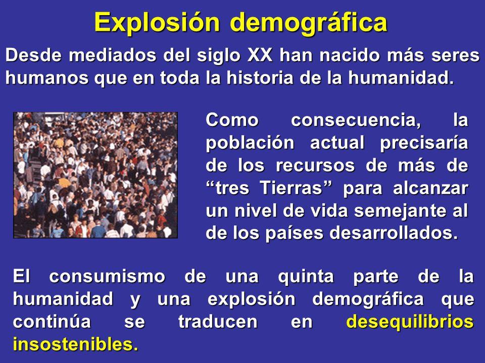 Explosión demográfica Desde mediados del siglo XX han nacido más seres humanos que en toda la historia de la humanidad. El consumismo de una quinta pa
