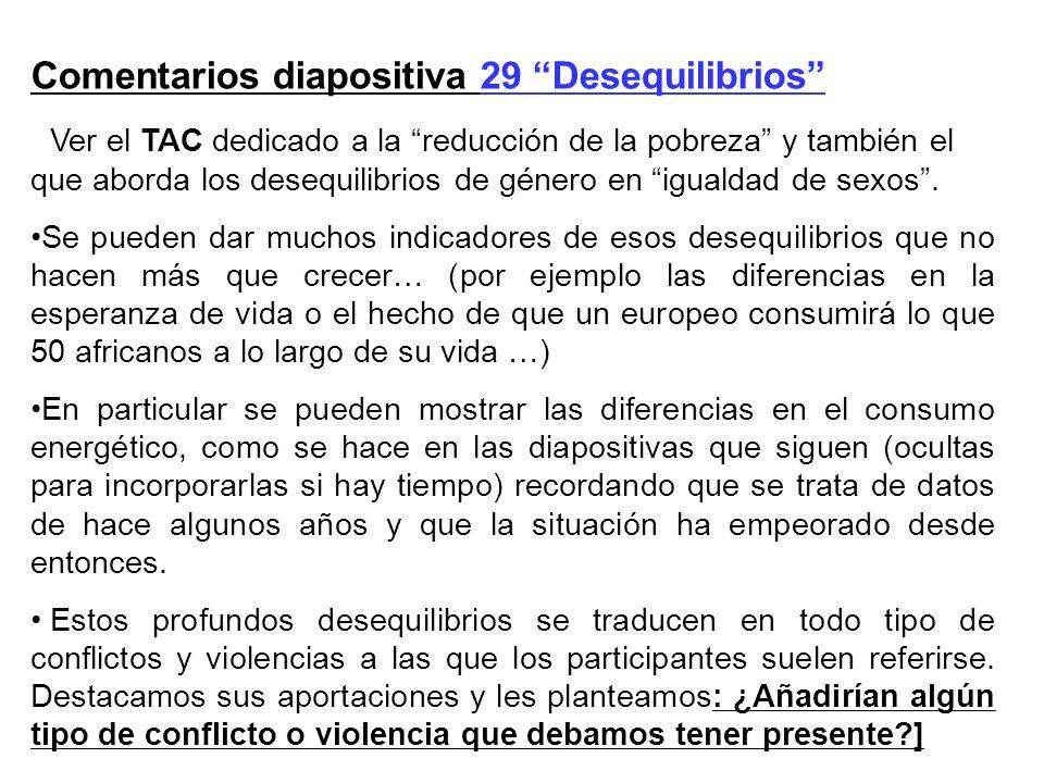 Comentarios diapositiva 29 Desequilibrios Ver el TAC dedicado a la reducción de la pobreza y también el que aborda los desequilibrios de género en igu