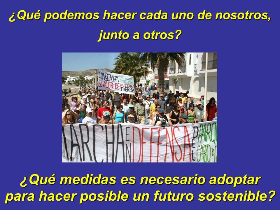¿Qué podemos hacer cada uno de nosotros, ¿Qué medidas es necesario adoptar para hacer posible un futuro sostenible? junto a otros?