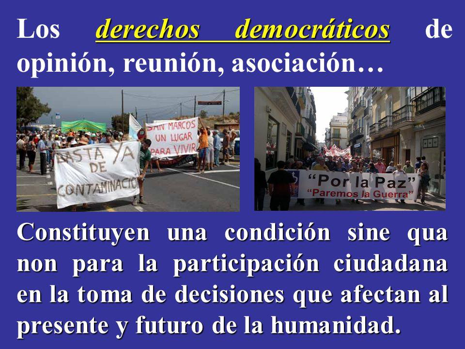 derechos democráticos Los derechos democráticos de opinión, reunión, asociación… Constituyen una condición sine qua non para la participación ciudadana en la toma de decisiones que afectan al presente y futuro de la humanidad.