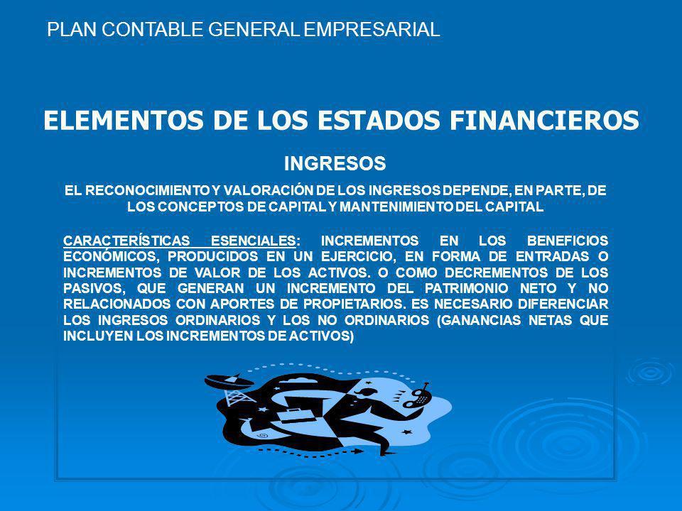 ELEMENTOS DE LOS ESTADOS FINANCIEROS INGRESOS EL RECONOCIMIENTO Y VALORACIÓN DE LOS INGRESOS DEPENDE, EN PARTE, DE LOS CONCEPTOS DE CAPITAL Y MANTENIMIENTO DEL CAPITAL CARACTERÍSTICAS ESENCIALES: INCREMENTOS EN LOS BENEFICIOS ECONÓMICOS, PRODUCIDOS EN UN EJERCICIO, EN FORMA DE ENTRADAS O INCREMENTOS DE VALOR DE LOS ACTIVOS.