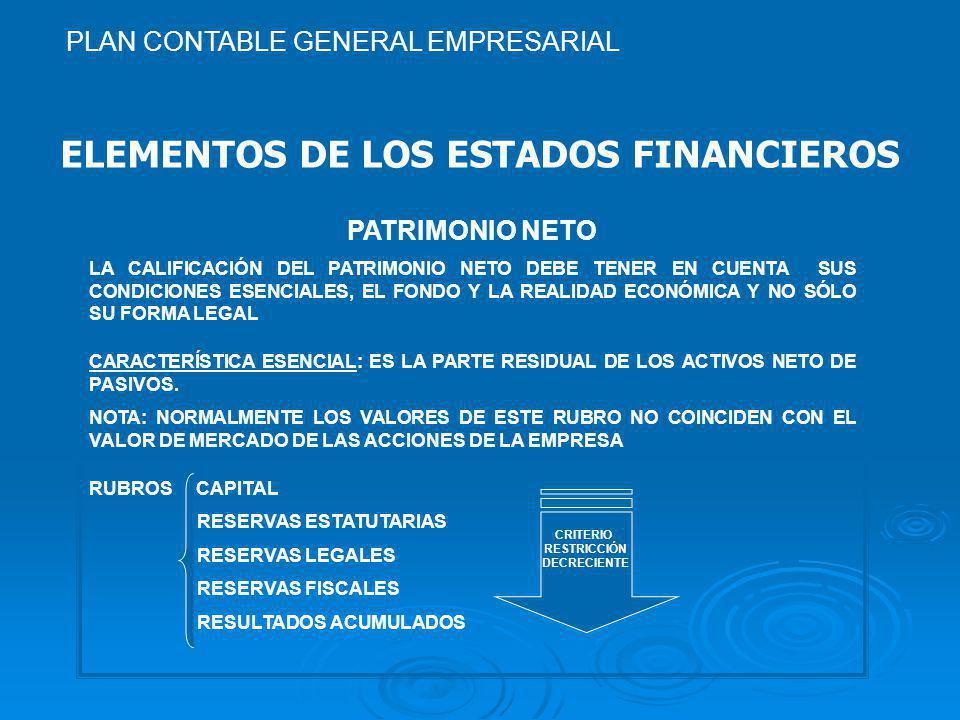 ELEMENTOS DE LOS ESTADOS FINANCIEROS PATRIMONIO NETO LA CALIFICACIÓN DEL PATRIMONIO NETO DEBE TENER EN CUENTA SUS CONDICIONES ESENCIALES, EL FONDO Y LA REALIDAD ECONÓMICA Y NO SÓLO SU FORMA LEGAL CARACTERÍSTICA ESENCIAL: ES LA PARTE RESIDUAL DE LOS ACTIVOS NETO DE PASIVOS.