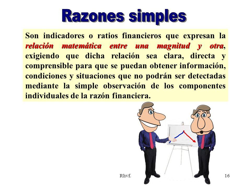 Rhvf.16 relación matemática entre una magnitud y otra Son indicadores o ratios financieros que expresan la relación matemática entre una magnitud y ot