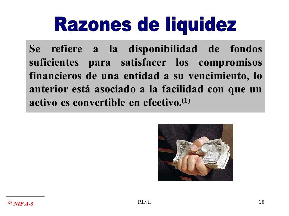 Rhvf.18 Se refiere a la disponibilidad de fondos suficientes para satisfacer los compromisos financieros de una entidad a su vencimiento, lo anterior