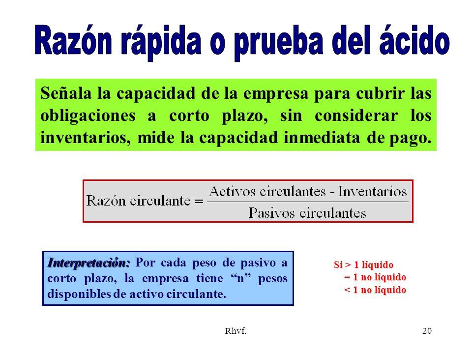 Rhvf.20 Señala la capacidad de la empresa para cubrir las obligaciones a corto plazo, sin considerar los inventarios, mide la capacidad inmediata de p