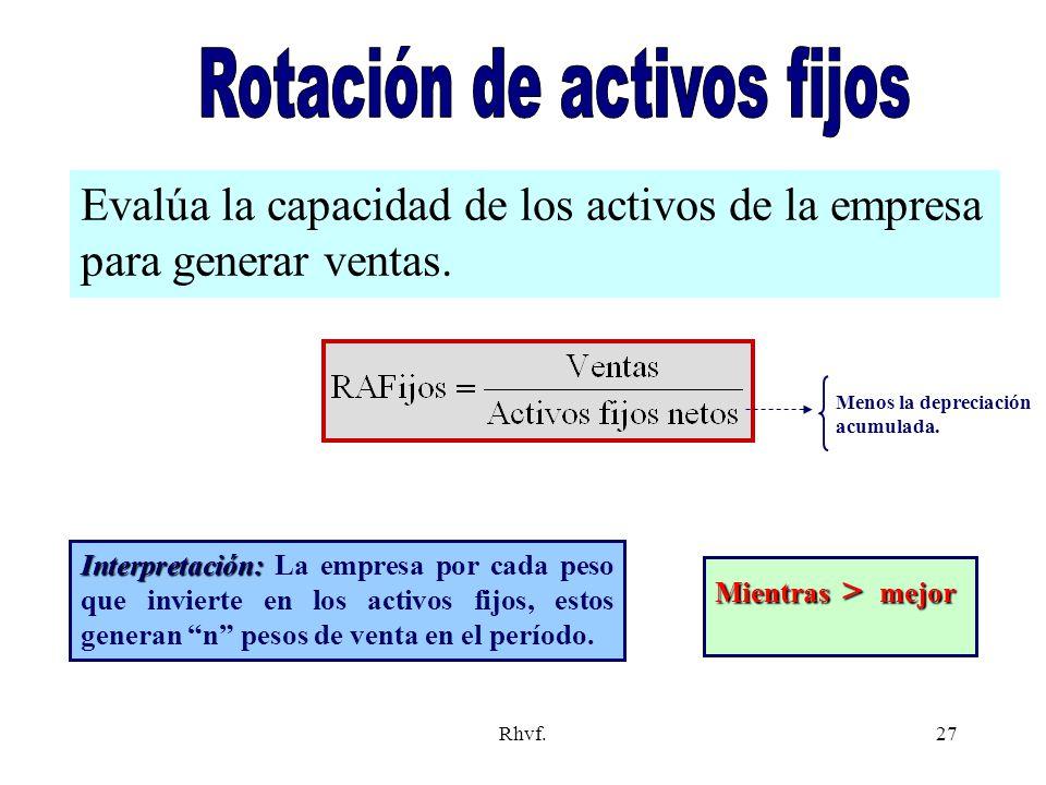 Rhvf.27 Evalúa la capacidad de los activos de la empresa para generar ventas. Mientras > mejor Interpretación: Interpretación: La empresa por cada pes