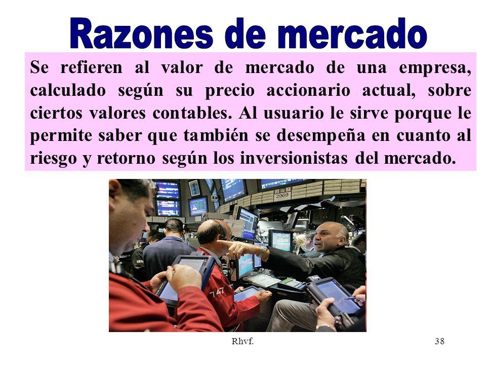 Rhvf.38 Se refieren al valor de mercado de una empresa, calculado según su precio accionario actual, sobre ciertos valores contables. Al usuario le si