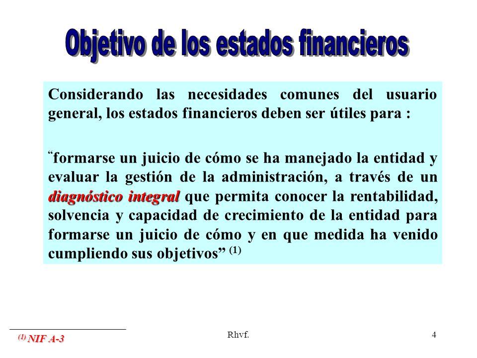 Rhvf.4 Considerando las necesidades comunes del usuario general, los estados financieros deben ser útiles para : diagnóstico integral formarse un juic