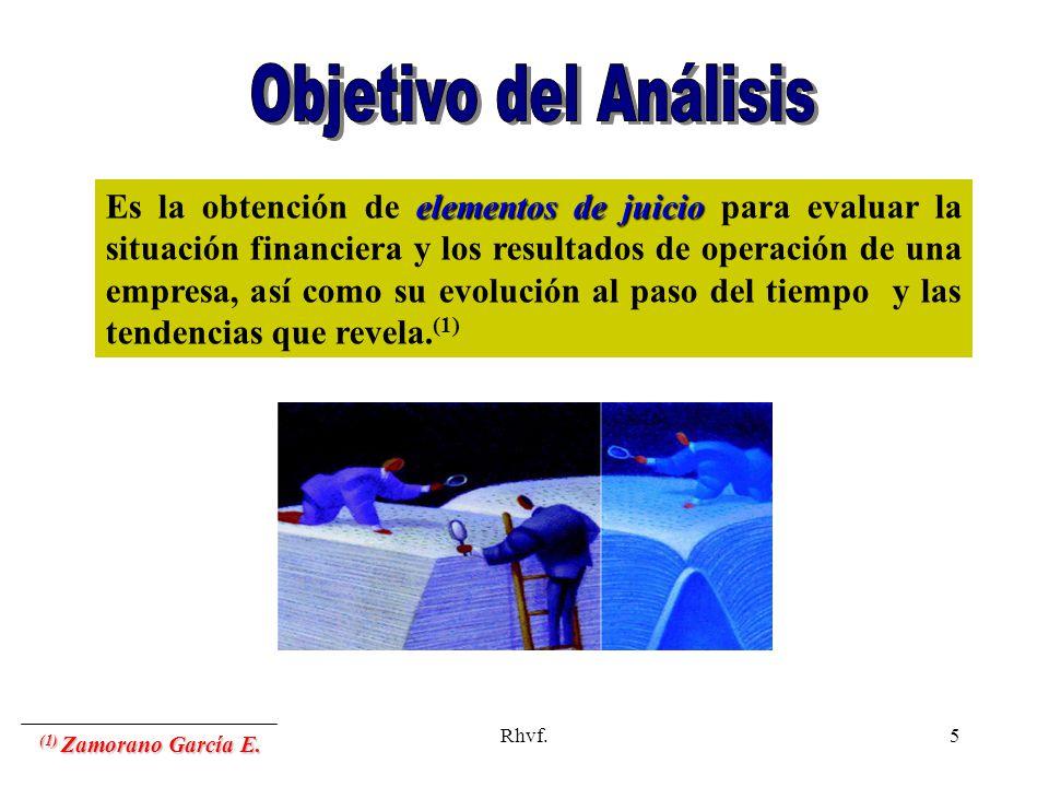 Rhvf.5 elementos de juicio Es la obtención de elementos de juicio para evaluar la situación financiera y los resultados de operación de una empresa, a