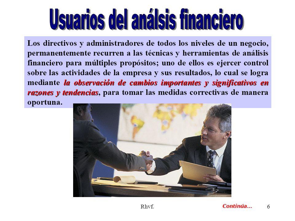 Rhvf.6 la observación de cambios importantes y significativos en razones y tendencias Los directivos y administradores de todos los niveles de un nego