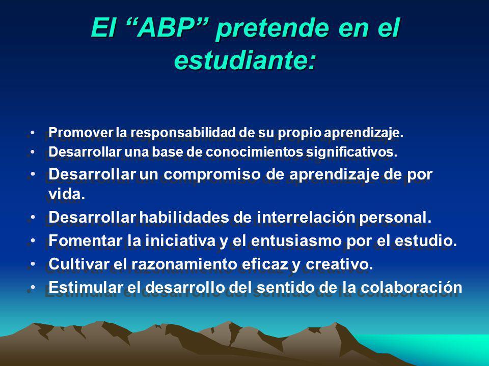 ALGUNAS CARACTERÍSTICAS DEL ABP SON: Es un método de trabajo activo. El método orienta el proceso de solución de problemas. El aprendizaje se centra e