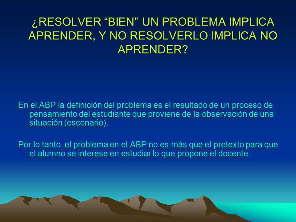 ¿RESOLVER BIEN UN PROBLEMA IMPLICA APRENDER, Y NO RESOLVERLO IMPLICA NO APRENDER.