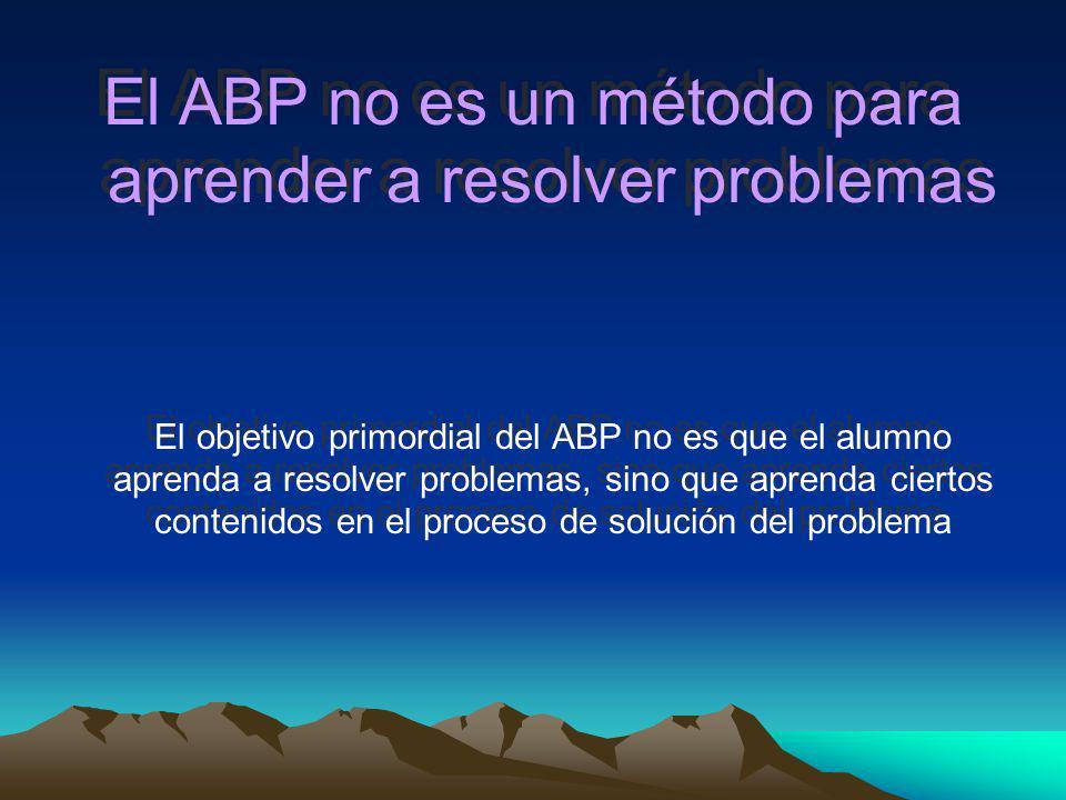 ¿RESOLVER BIEN UN PROBLEMA IMPLICA APRENDER, Y NO RESOLVERLO IMPLICA NO APRENDER? En el ABP la definición del problema es el resultado de un proceso d