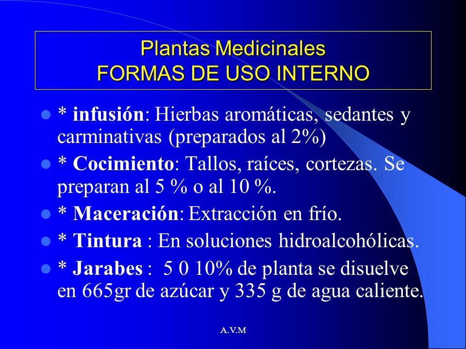 A.V.M Plantas Medicinales FORMAS DE USO INTERNO * infusión: Hierbas aromáticas, sedantes y carminativas (preparados al 2%) * Cocimiento: Tallos, raíce