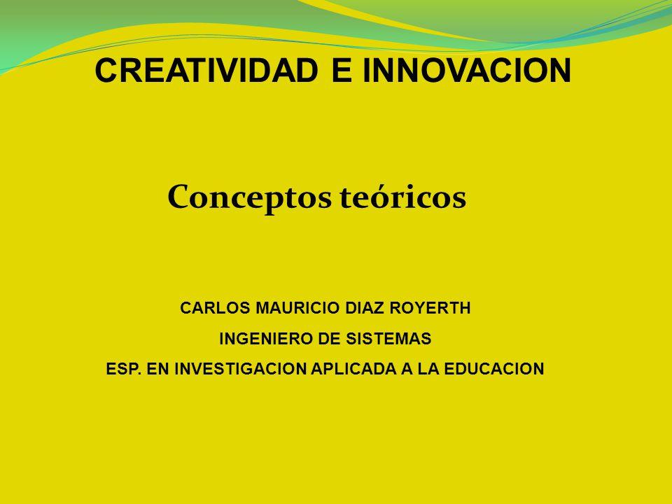 Conceptos teóricos CREATIVIDAD E INNOVACION CARLOS MAURICIO DIAZ ROYERTH INGENIERO DE SISTEMAS ESP. EN INVESTIGACION APLICADA A LA EDUCACION